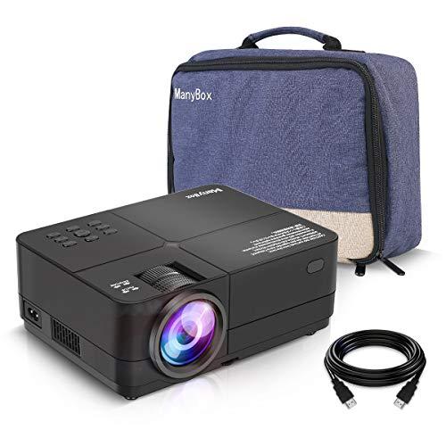 Beamer, ManyBox Mini Beamer 4500 Lumen 1080P Full HD, Projektor Tragbar Videoprojektor Unterstützt 50000 Stunden Lampenlebensdauer, HDMI, VGA, USB, Micro SD, TV Stick Für die Unterhaltung zu Hause