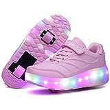 Enfants LED Chaussures à Skates avec Roues LED Clignotante Baskets Mode...