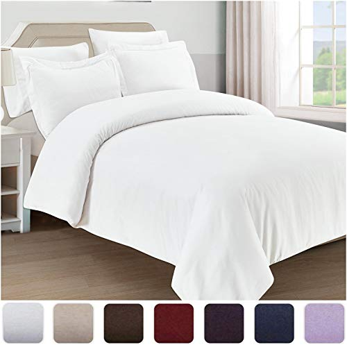 Mellanni Duvet Cover King Set 5pcs - Soft Double Brushed Microfiber Bedding with 2 Shams and 2 Pillowcases - Button Closure and Corner Ties - Wrinkle, Fade, Stain Resistant (King/Cal King, White)