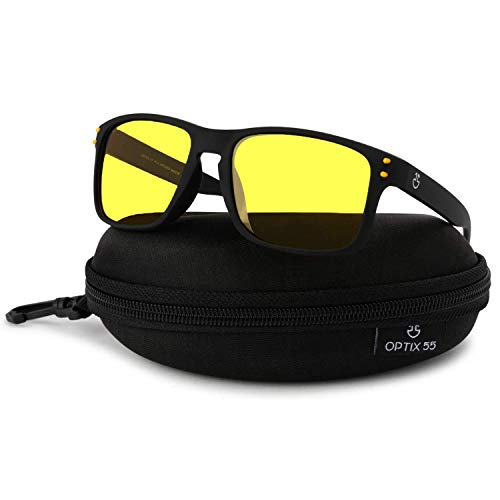 Night Vision Glasses for Driving, Anti-Glare Polarized, Night Driving Glasses for Men & Women, Yellow-Tinted with Hard Case (Night Vision/Black)