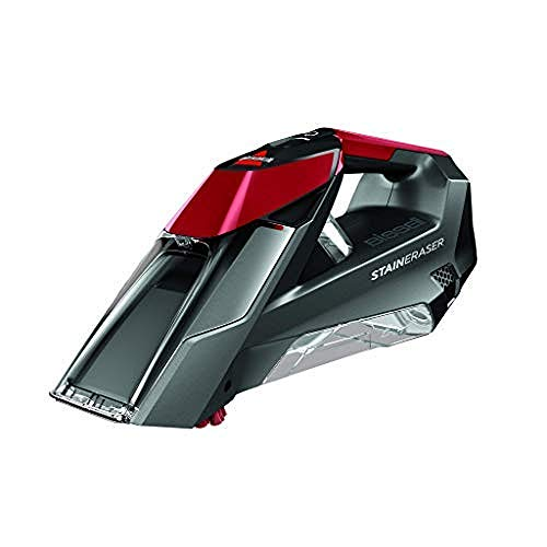 Bissell 2005N Stain Eraser - Scopa elettrica cordless ricaricabile, Per scale, tappezzeria, auto e tappeti, 7.2 V, 450 W, Titanio/Rosso