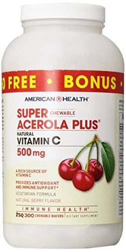Súper Plus Acerola masticable, sabor natural a bayas, 500 mg - Salud
