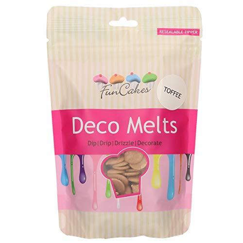 FunCakes Deco Melts Sabor Tofee- Dip, Drip, Drizzle y Decora! Haz Caramelos, Tartas de Goteo, Piruletas y Decora Tartas, Galletas y Cupcakes AZO Free. 250 gr