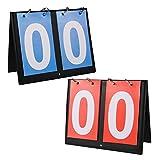 Aumesa Rano 2枚セット スコアボード フリップスコアボード 読みやすい 得点板 得点ボード 4桁/2桁 卓上 組み立て簡単 携帯便利 手動式 軽量 競技 野球 サッカー バスケットボール 卓球 スポーツ用 防水性 耐久性 多用途