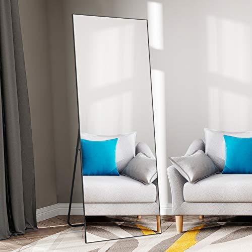 SELF Full Length Floor Mirror 65'×22' Metal Aluminum Alloy Frame Floor Mirror with Standing Holder Standing...