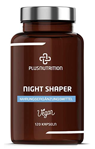 PLUS NUTRITION® Night Shaper Vegan - mit 800mg Apfelessig, Cayennepfeffer, Ingwer etc. - Frei von Gluten, Laktose, Zucker - Monatsvorrat mit 120 Kapseln - Made in Germany