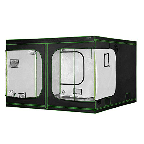 VIVOSUN 120'x120'x80' Mylar Hydroponic Grow Tent with Observation Window and Floor Tray for Indoor Plant Growing 10'x10'