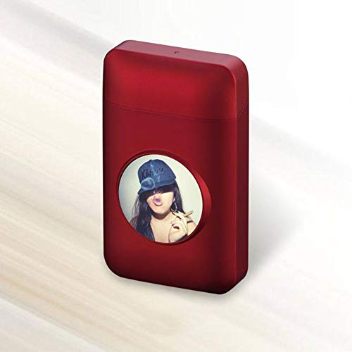 BDWY Flip portasigarette Ultra-Sottili Sigarette Portatile Contenitore con luci a LED 20 Bastoncini...