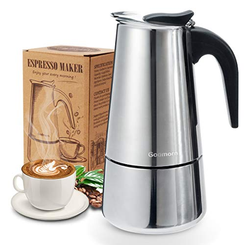 Godmorn Cafetera italiana,Cafetera espressos en Acero inoxidable430,6 tazas(300ml),Conveniente para la cocina de...