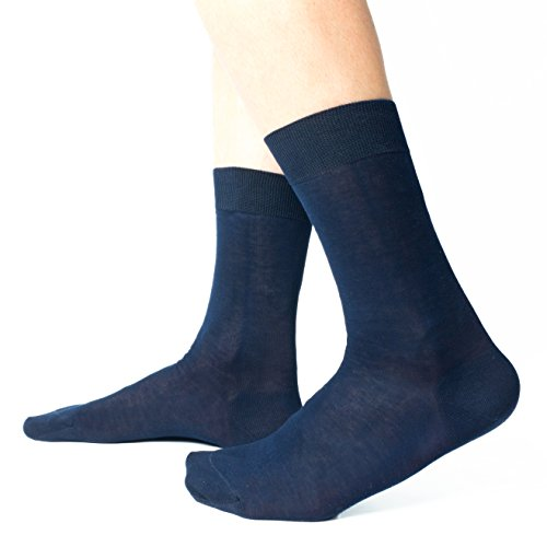 Ciocca Calze uomo corte, pregiato cotone 100% FILO SCOZIA - 6 Paia - tre taglie calze (42/43, Blu scuro)