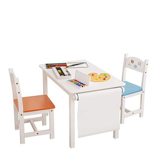 Homfa Set Tavolino Bambini Scrivania da Pittura Gioco con Rotolo per Carta Disegnare Set Mobili con...