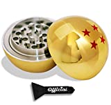 Official Dragon Ball Z Herb Grinder - 4 Star Golden Dragonball Herb & Spice Tool With BONUS Scraper - Dragon Ball Z Gifts, Anime Gifts - 3 Part Grinder, 2.2 Inches