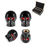 DSYCAR Black Skull Style Antirust Copper Core Truck Motorcycle Bike Car Tires Valve Stem Caps , 4Pcs/Box