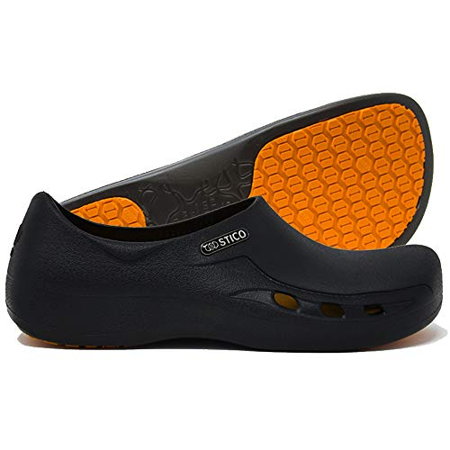 Product Image 1: STICO Men's Slip Resistant Chef Clogs, Professional Non-Slip Work Shoes with Air Vents for Restaurant Hospital Nursing Garden [Black/US Men 5]