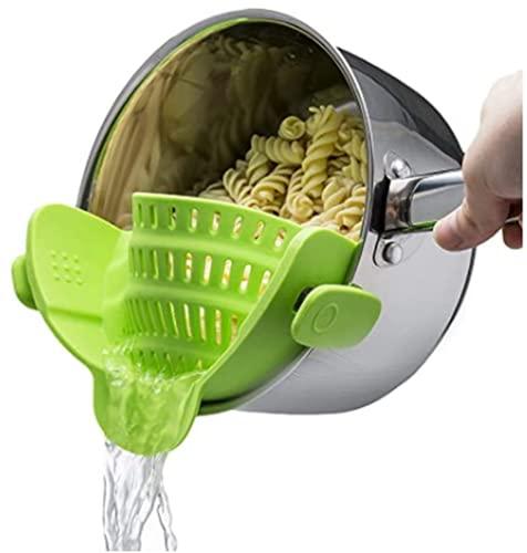 Kitchen Gizmo Snap N Strain Strainer, Clip On Silicone Colander,...