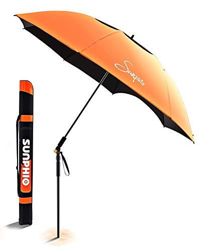 Sunphio Sonnenschirm Strand, Windfest und UV Schutz, Leicht für Reise, Sport, Picknick und Mehr, 2 Metall Bodenhülse, 1 Große Tragetasche, 360 ° Neigbarer Sand Sonnenschirm für den Strand(Orange)