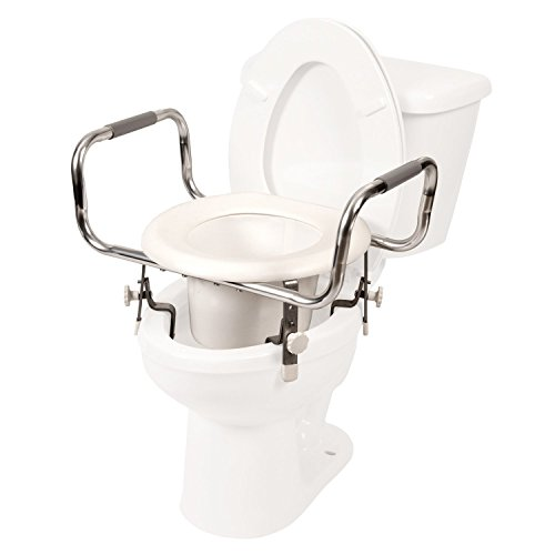 Pcp Adjustable Height Raised Toilet Seat, Tall Increased Elevation with Security Safety Clamps, Made in USA