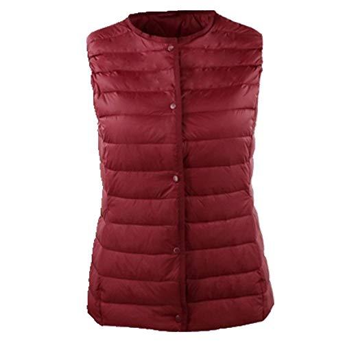 Gilet donna senza maniche O-collo in cotone Rosso L
