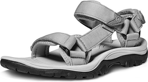 ATIKA Women's Outdoor Hiking Sandals, Comfortable Summer Sport Sandals, Maya(w111) - Light Grey, 6