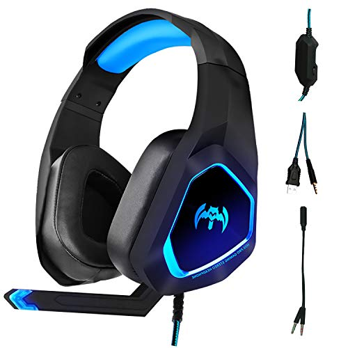 PS4 Gaming Headset,Headset for PC Xbox One PS4 PS Vita, Noise Isolation Headphones with...