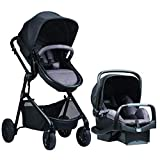 Evenflo Pivot Modular Travel System, Lightweight Stroller, Sleek & Versatile, Easy Infant Car Seat Transfer, Oversized Storage Basket, Travel Stroller, 3-Panel Canopy, Casual Gray