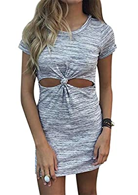 Material: Made of High Quality Polyester and Cotton Blend, Soft and Comfy, Breathable and Stretchy. Features: Slim Fit Tunic Dresses for Women, Ladies or Teen Girls, Plus Size is Available. Round Neck, Short Sleeve, Solid Color, Above Knee Length, wi...