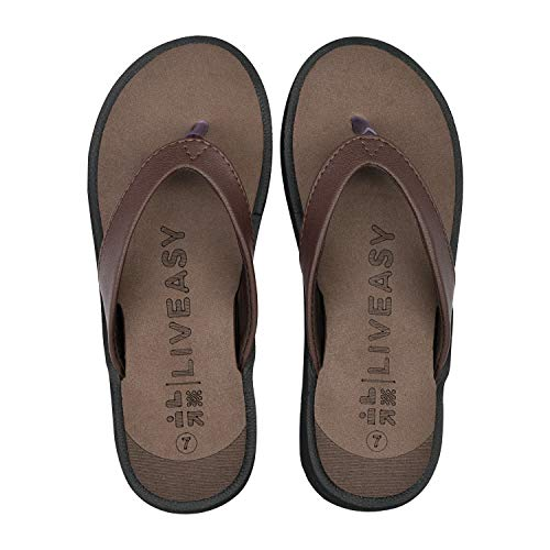 LivEasy Essentials Orthopedic Slippers with Memory Foam Women (L, Brown, numeric_7)