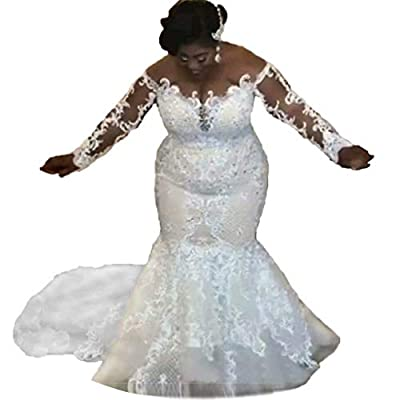 Features:Lace,Appliques,Satin,Beaded,Crystal,back with button,Long Sleeves,see through Back,Sexy mermaid style,plus size. Size:When you order the dress,please check the left size chart,then choose the fit size.If the size no fit,please tell us your d...