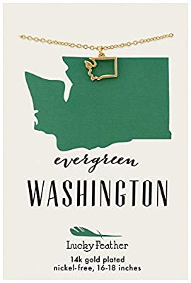 "Evergreen, Washington. Wear your pride with this 14k gold dipped Washington state necklace. Easily ADJUSTABLE 16"" - 18"" cable necklace supports a 14K gold dipped pendant cast in the shape of your state. This 1-size-fits-most necklace accommodates mos..."