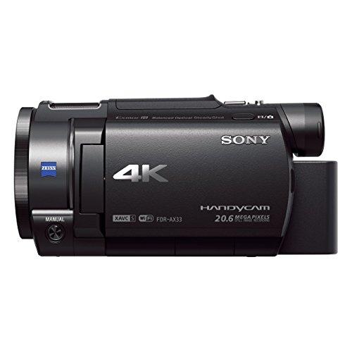 Sony FDR-AX33 Videocamera 4K Ultra HD con Sensore CMOS Exmor R, Ottica Grandangolare Zeiss da 29.8...
