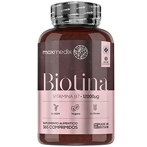 Biotina Natural 12000 mcg Dosis Alta, 365 Comprimidos Vegano