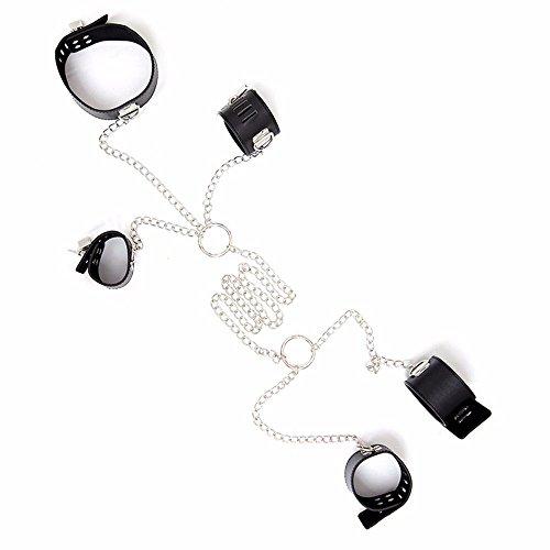 XO-MOK gebundene Bindung Hand und Fuß Hals mit Taschentuch, Knöchelriemen, Halskette, Bett-Set, für Männer und Frauen, Cosplay, Paar, Spielzeug, personalisierbar, Kunstleder, Black Hand Chain, Normal