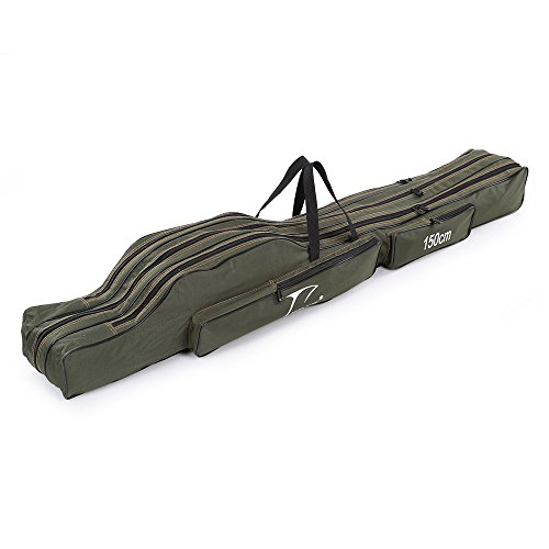 Docooler Portable Folding Fishing Rod Carrier Canvas Fishing Pole Tools Storage Bag Case Fishing...