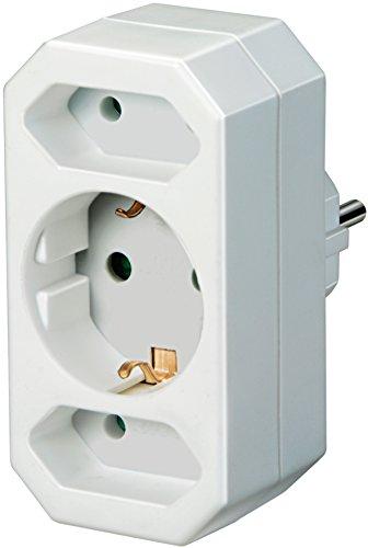 Brennenstuhl Mehrfachsteckdose, Steckdosenadapter 3-fach mit Kindersicherung (2 x Eurosteckdose & 1 x Schutzkontakt) Farbe: weiß