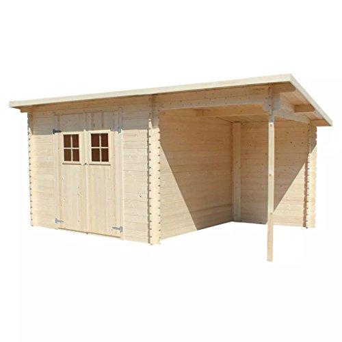 Festnight - Casetta da giardino in legno massiccio, 28 mm, 5,3 x 3 m