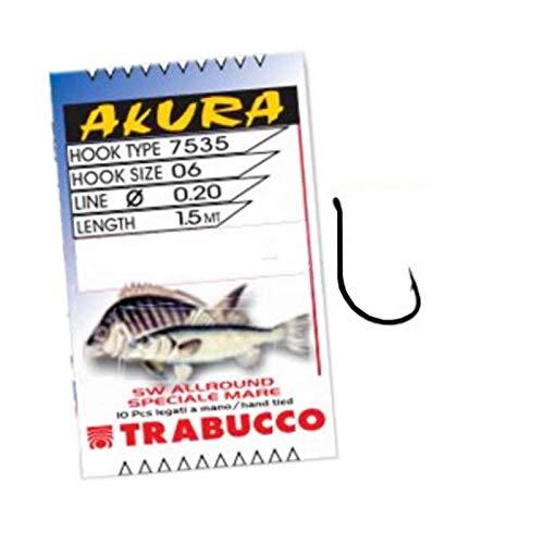 Trabucco Ami da Pesca Legati con Filo Fluorocarbon Allround SW 7535 N Amo 8 Filo 0.20 mm 150 cm Amo Trota Lago Mare Surfcasting