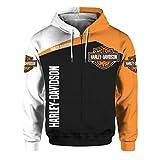 Unisexe Printemps Et Automne Vêtements D'extérieur à Manches Longues 3D Numérique Harley Davidson Logo Imprimé Zipper à Capuche Sweat Décontracté (1,2XL)