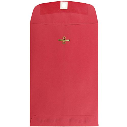 JAM PAPER 6 x 9 Open End Catalog Colored Envelopes with Clasp Closure - Red Recycled - 100/Pack