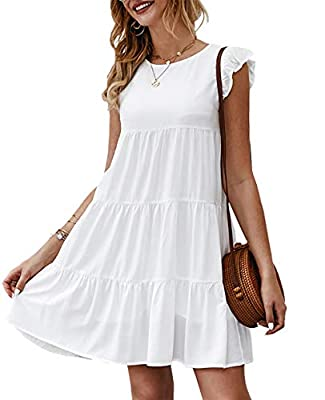 Feature: Women Mini Dress/ Baby Doll Dress /Sleeveless Dress/ Cap Sleeves/ Ruffle Armhole Hem/ Round Neck/ Womens Summer Dress/ Knee Length Dress/ Loose Fit Dress/ Ruched Skirt/ Pleated Skirt/ Solid Dress/ Size Selection: S,M,L,XL/ Color Selection: B...