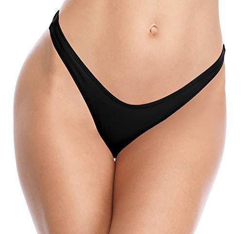SHEKINI Damen V Schnitt Niedrige Taille Tanga Charmant Brasilianer Bikinihose Sexy Chic Thong Bikini Unterteil Badehose String Schwarz Bademode (X-Large, Schwarz)