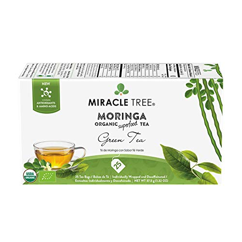 Miracle Tree - Organic Moringa Superfood Tea, 25 Individually Sealed Tea Bags, Green Tea