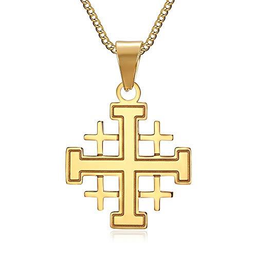BOBIJOO Jewelry - Pendentif Homme Templier Ordre Croix de Jerusalem Acier Plaqué Doré Or Chaîne
