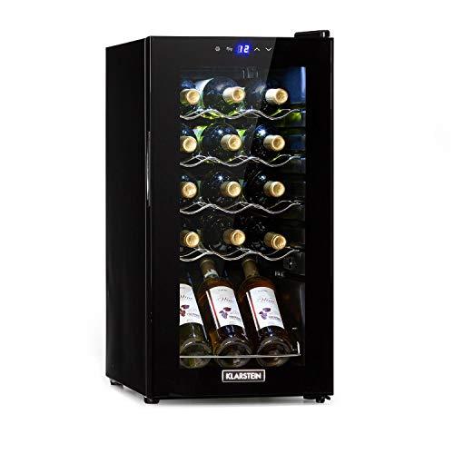KLARSTEIN Shiraz Slim - Frigorifero per Vini, Cantinetta, Classe Energetica G, 5-18 C, 42 dB, Pannello Soft-Touch, Luce LED, Posizionamento Libero, 4 Ripiani, 44 Litri, per 15 Bottiglie, Nero