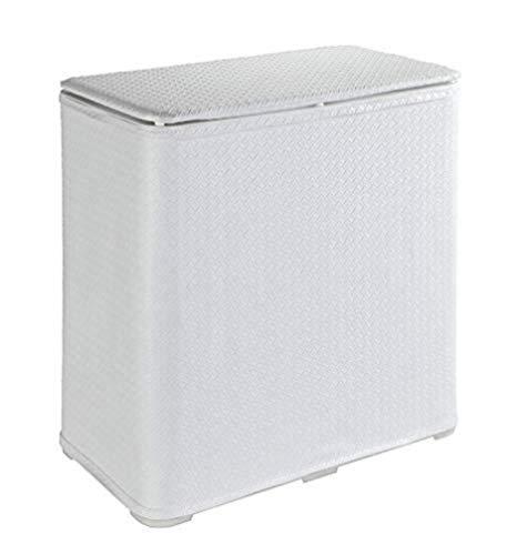 WENKO Wäschetruhe Wanda - Wäschekorb mit Deckel Fassungsvermögen: 65 l, Kunststoff, 49 x 50 x 27 cm, Weiß