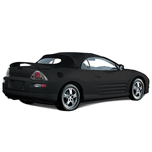 Compatible With Mitsubishi Eclipse Spyder Convertible Top 2000-2005 with Heated Glass Window in Stayfast Cloth (Black)
