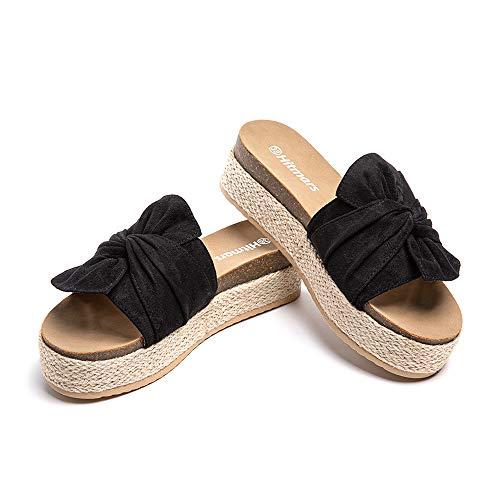 Sandalias Plataforma Mujer Verano Alpargatas Mules Cuña Punta Abierta Zapatillas de Tacón Playa Comodas Zapatos Vestir Slip On Negro 39 EU