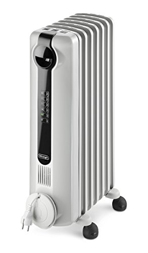 De'Longhi Oil-Filled Radiator Space Heater, Full Room Quiet 1500W, Adjustable Thermostat, 3 Heat Settings, Digital Timer, ECO Energy Saving Mode, Safety Features, Light Gray, Radia S TRRS0715E
