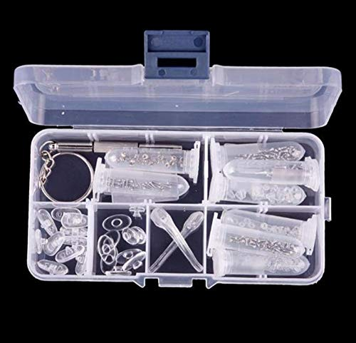Hpybest 13 cm x 7 cm x 2,2 cm Box Paket Schraubmuttern Nasenpad Optische Reparatur Werkzeug Set für Brillen Sonnenglas