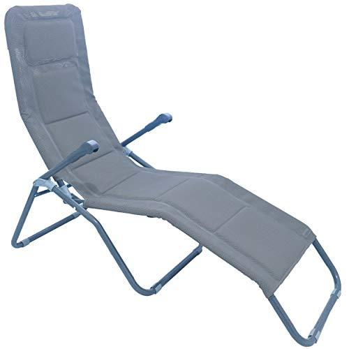 Meerweh Aluminium Gartenliege extra Hoch Sitzhöhe ca. 43 cm Bäderliege Saunaliege Sonnenliege, Grau, 153 x 72 x 126 cm