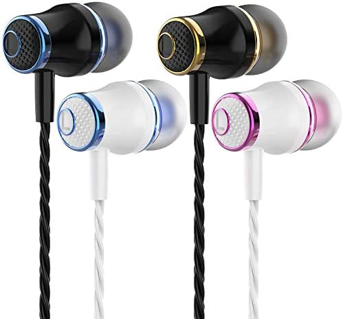 4 Pairs Headphone Heavy Bass Stereo Earphones Earbuds with Remote & Microphon,Laptops,Gaming Noise Isolating Tangle Free Headsets in Ear Headphones 17
